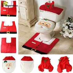 1 Set/3pc 2016 Christmas Decoration Supplies Santa Toilet Seat Cover Paper Rug Bathroom Set for Celebrate Christmas