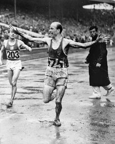Mel Patton, left, anchor man of the U.S. men's 4 x 100-meter relay team, crosses the finish line well ahead of Britain's Jack Archer, during the Summer Olympics at Wembley Stadium, in London Aug. 7, 1948. Olympic judges disqualified the U.S. team on the grounds that their first exchange of the baton was not made within the 20-meter zone, but reversed their decision three days later giving the U.S. the gold medal and Britain the silver.(AP Photo) less       The U.S. Summer Olympic rowing team…