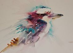 Watercolours With Life: Kookaburra in Watercolour Watercolor Paintings Nature, Watercolor Animals, Watercolor And Ink, Watercolours, Watercolor Tattoo, Australian Animals, Alcohol Ink Art, Traditional Paintings, Painting Lessons