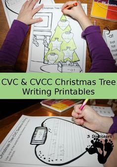 Free CVC & CVCC Christmas Tree Writing Printable