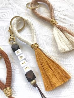 Moms Best Friend, Crochet Cord, Tassel Keychain, Letter Beads, Macrame Bag, Macrame Design, Macrame Projects, Macrame Patterns, Unique Earrings
