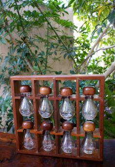 Unique Wooden Mid Century Modern Spice Rack, Glass Spice Jars and Hanging Wall Rack, Kitchen Wall Decor, Apothecary Style Spice Bottles Spice Rack Glass, Hanging Spice Rack, Glass Spice Jars, Spice Bottles, Glass Jars, Modern Spice Racks, Small Cottage Kitchen, Spice Organization, Wraps