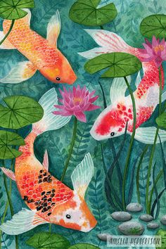 Koi Fish and Water Lilies Watercolor Painting by Amelia Herbertson - Aquarelllmalerei Art Koi, Fish Art, Koi Fish Drawing, Fish Drawings, Watercolor Fish, Watercolor Artwork, Watercolour, Koi Painting, Paintings Of Fish