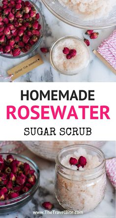 Rose Water Sugar Scrub – The Travel Bite This rosewater sugar scrub recipe is easy to make with just a few ingredients and perfect for lips and hands! Homemade Rose Water, Sugar Scrub Homemade, Homemade Skin Care, Homemade Beauty, Diy Beauty, Beauty Tips, Beauty Hacks, Beauty Products, Beauty Care