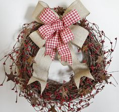 Rustic Country Berry Wreath - 16.5 Grapevine Wreath, Premium Silk Wreath