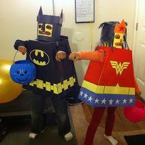 Lego Batman and Wonder Woman costumes