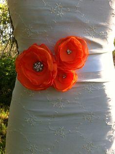 Bridal Sash in Tangerine Orange,  Bouquet Wedding Day Sash Belt... Bridal, Prom, Ball , Portraits....