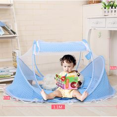 New 0-36 Months Baby Bed Portable Foldable Baby Crib With Netting Newborn Sleep Bed Travel Bed Baby Tent  #Affiliate