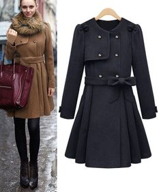 Morpheus Boutique  - Black Trendy Long Sleeve Wool Double Breasted Celebrity Belted Pleated Coat, $149.99 (http://www.morpheusboutique.com/black-trendy-long-sleeve-wool-double-breasted-celebrity-belted-pleated-coat/)