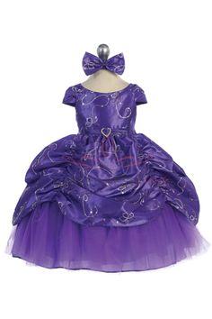 Purple Baby Cinderella Flower Girl Dress with Cap Sleeves CB-596-PP CB-596-PP $53.95 on www.GirlsDressLine.Com