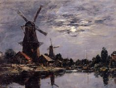 Dutch Windmills (1884), Eugène Boudin