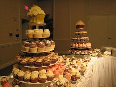 Who needs wedding cake? This autumn wedding had giant cupcake towers for guests to enjoy throughout the evening!