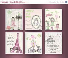 Paris Nursery Art  Baby Girl Nursery Wall Art  by DesignByMaya, $72.00