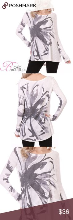 """✳️SALE✳️White Floral Ribbed Long Sleeve Top White Ribbed Long Sleeve Top featuring a round neckline and printed floral design. Made of rayon/ poly/ spandex blend. Silk Marled. Front Length 27""""/ back length 29"""". Fits true to size. Marled. MADE IN USA. Bchic Tops"""