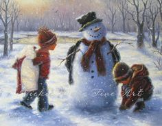 Snow Play Art Print snowman painting boy and by VickieWadeFineArt