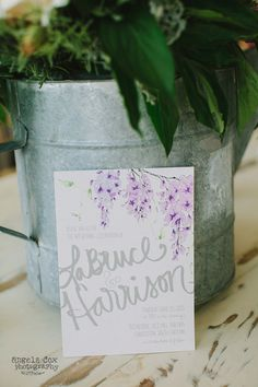 Lavender Wisteria Watercolor Wedding Invitation Suite by Miss Wyolene as seen on the Ruffled Blog via @Etsy