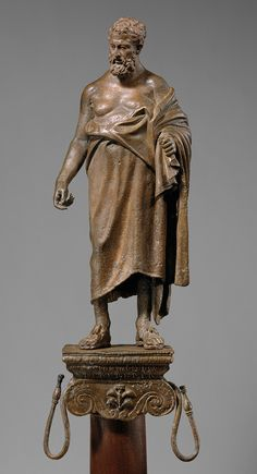 Statuette of a philosopher on a lamp stand, Early Imperial, Augustan, late 1st century B.C.  Roman  Bronze