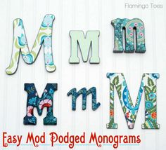 Love this assortment of monograms from @Bev {Flamingo Toes}! Fabulous tutorial to make your own.