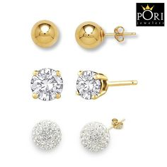 3 Pairs: Pori 14kt Gold-Plated CZ, Crystal Ball, Classic Ball Stud Earrings