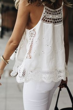 Free people white lace tank top with tassels best 50 casual summer outfits for women All White Outfit, White Outfits, Summer Outfits, Casual Outfits, Shoes For White Dress, Summer Clothes, Dress Shoes, Shoes Heels, Mode Outfits