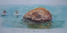Water colour sketch, bathing by the rocks, Patitiri.