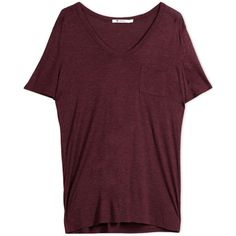 T By Alexander Wang Short Sleeve T-Shirt ($85) ❤ liked on Polyvore featuring tops, t-shirts and maroon