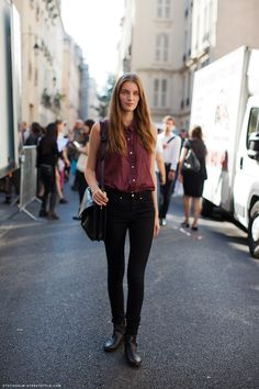 Sleeveless maroon button up and black denim  Carolines Mode | StockholmStreetStyle