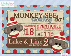 Sock Monkey Birthday Invitations for Twins (072) | Set of 12 Printed Invitations