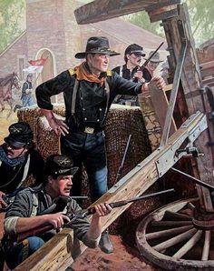 """""""A la espera de Vicksburg"""". Artista Don Stivers. El coronel Marlowen y los soldados bajo su mando han construido una barricada y ahora esperan la embestida que saben que tardara sólo unos minutos. John Wayne interpreta al oficial de caballería de la Unión en la película clásica, """"Misión de audaces""""."""