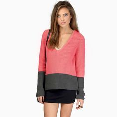 HDY Haoduoyi Four Color Fashion Sweatshirt Color Block V-neck Long Sleeve Casual Tops Autumn Female Slim Pullover Sweatshirt