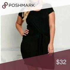 Black Bodycon Dress Plus Size Short Sleeve Black Bodycon Tie Dress Dresses Midi