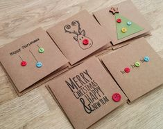 Pack of 5 cute handmade Christmas cards with buttons - reind.- Pack of 5 cute handmade Christmas cards with buttons – reindeer, christmas tree, baubles, ho ho ho - Christmas Card Crafts, Christmas Tree Baubles, Homemade Christmas Cards, Christmas Wrapping, Christmas Tag, Homemade Cards, Handmade Christmas, Holiday Cards, Button Christmas Cards