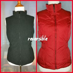 *EXPRESS* REVERSIBLE VEST Size Small. Red/black. Sleevless. Fleece on black side with minimal pilling and fading. Red side is windbreaker. Slight discoloration on the red side(see picture). 4 pocket. High collar keeps you warm. Very thick. Zipper closure. Cinch waist. Condition: Good. Express Jackets & Coats Vests