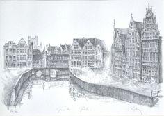 Pentekening op papier, Graslei Gent, Luc Putman