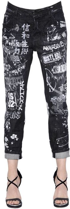 Cool Girl Printed Destroyed Denim Jeans