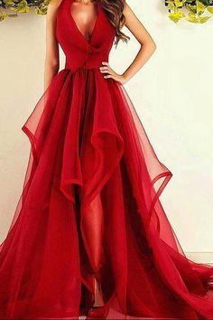 Red A Line Court Train Deep V Neck Sleeveless Ruffles Long Prom Dress,Party Dress P184