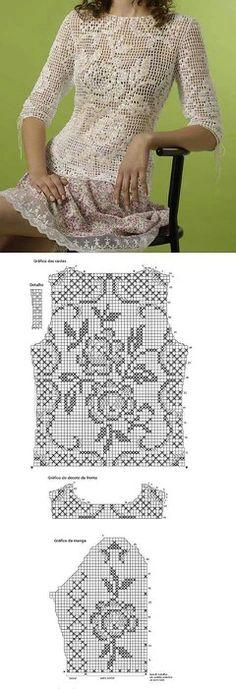 Filet Crochet top with chart……. Filet Crochet, Pull Crochet, Crochet Tunic, Crochet Diagram, Thread Crochet, Irish Crochet, Crochet Crafts, Crochet Clothes, Crochet Lace