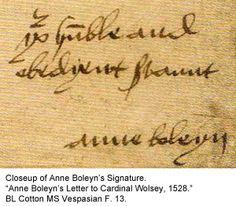Signature of Anne Boleyn Tudor History, European History, British History, Wives Of Henry Viii, King Henry Viii, Anne Of Cleves, Anne Boleyn, Katharina Von Aragon, Enrique Viii