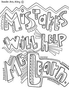 Growth Mindset Coloring Pages - Classroom Doodles Quote Coloring Pages, Colouring Pages, Adult Coloring Pages, Coloring Books, Free Coloring, Social Emotional Learning, Social Skills, Leader In Me, Color Quotes
