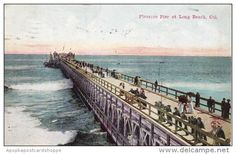 Vintage Postcard Pleasure Pier at Long Beach, California from about Long Beach California, Cades Cove, Central Park, Vintage Postcards, Places, 1960s, Passion, Film, Venezuela