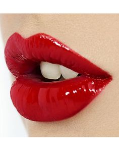 Your red glossy lips will always save the day!