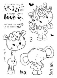 "Tracey Hey ""Little Bit Crazy"" Stamp Set Art Drawings For Kids, Drawing For Kids, Cute Drawings, Scrapbooking, Diy Scrapbook, Tampons Transparents, Coloring Book Pages, Digital Stamps, Giraffes"