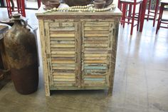Rustic white washed shutter 2 door cabinet