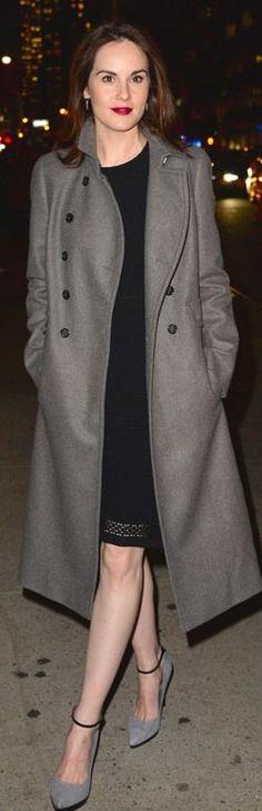 Who made Michelle Dockery's gray coat?
