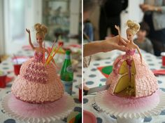 How to cut and serve a princess dress cake. Just cut a wedge and serve. Easy Peasy!