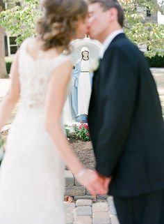 Catholic wedding kiss -- love for Our Blessed Mother Mary!