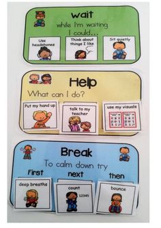 "Using these cards in my class have been a life saver, students can ask for a break, learn waiting skills and what comes ""first, next, then""."