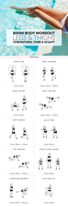 Work your hips, quads, hamstrings and calves with these 10 leg and thigh exercises for women. This lower body workout is designed to strengthen your muscles, tone your thighs and sculpt your legs! www.spotebi.com/...: