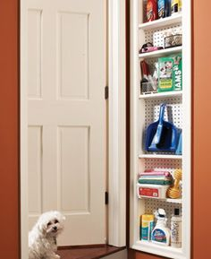Shallow cabinet - fits in between studs - found space - great for cleaning supplies or extra pantry space where you don't want things deep  ****************************************** FamilyHandyMan - #organization #household #tips #storage #cleaning #pantry - tå√