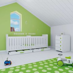 A modern convertible crib with drawers for twins. Perfect mix in green and white in this baby room Cunas convertibles modernas y originales en color verde para bebés gemelos Nursery Twins, Convertible Crib, Decoration, Toddler Bed, Kids Rugs, Bedroom, Alondra, Furniture, Home Decor